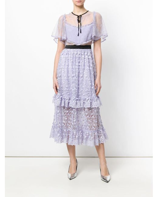Three Floor Pink Violette Floral Embroidered Dress