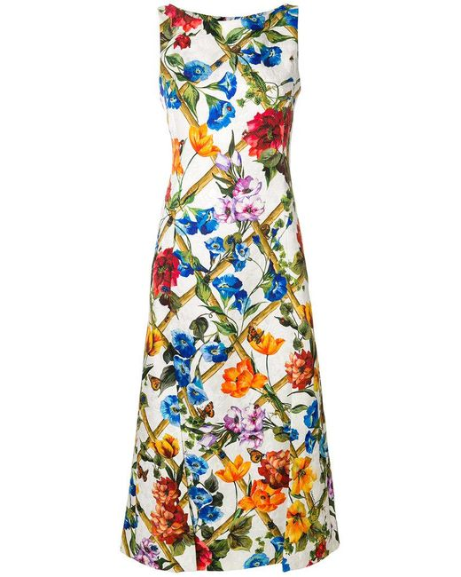 Dolce & Gabbana - White Floral Printed Dress - Lyst