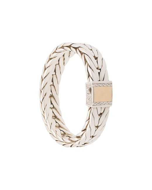 John Hardy Metallic Silver Modern Chain Extra-large Bracelet With 18k Yellow Gold Clasp for men