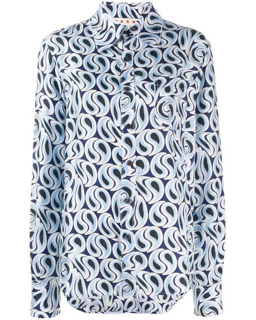Marni Camicia プリントシャツ Blue