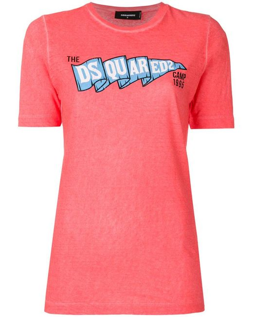 DSquared² - Pink Logo Printed T-shirt - Lyst
