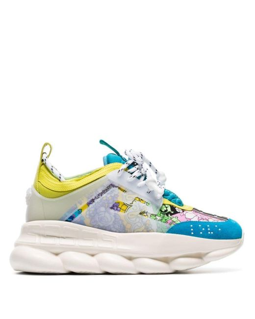 Versace Blue Multicoloured Chain Reaction Leather Sneakers