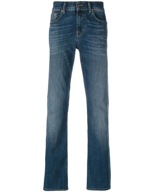 7 For All Mankind | Blue Stonewashed Regular Jeans for Men | Lyst