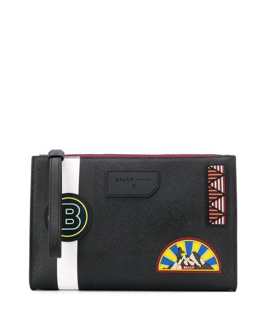 Bally Black Logo Patch Stripe Detail Clutch Bag for men