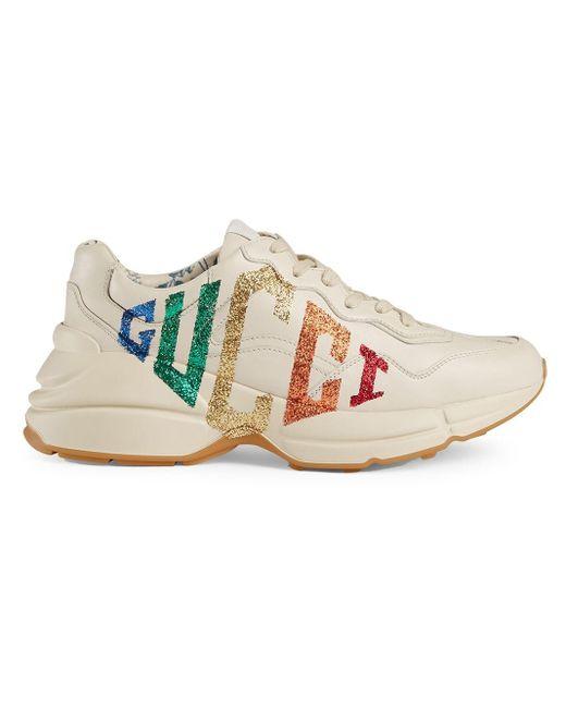 Gucci 【公式】 (グッチ)〔ライトン〕ウィメンズグリッター ロゴ レザー スニーカーホワイト レザー ホワイト White