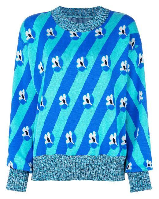MM6 by Maison Martin Margiela フローラル ストライプ セーター Blue