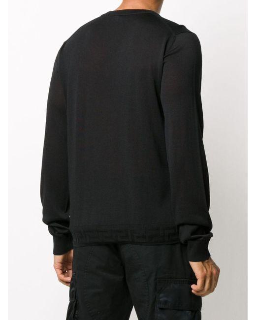 メンズ Versace グレカ プルオーバー Black