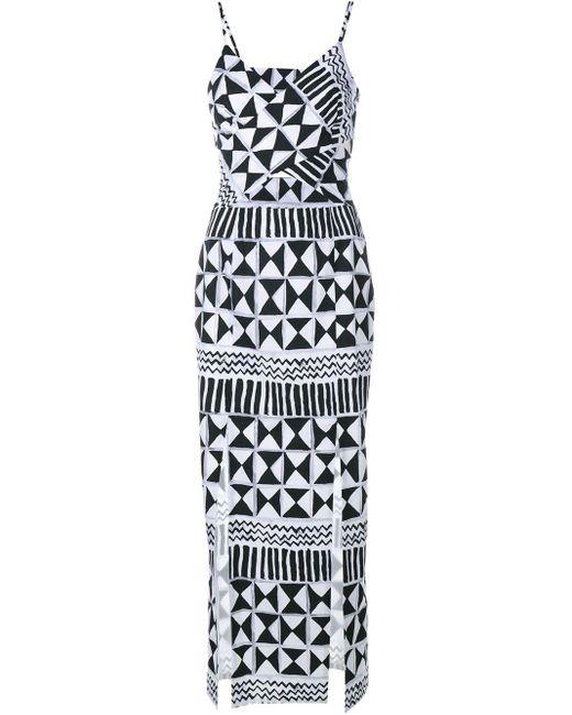 Tata Naka Rebecca Geometric Print Cut-out Dress Multicolor