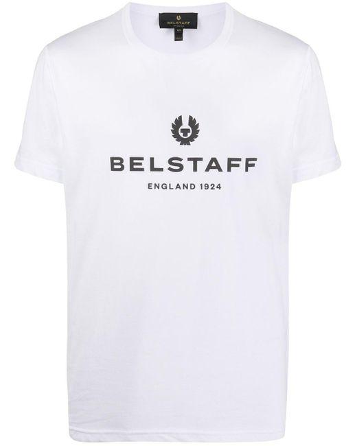 Belstaff White Crew Neck Logo T-shirt for men