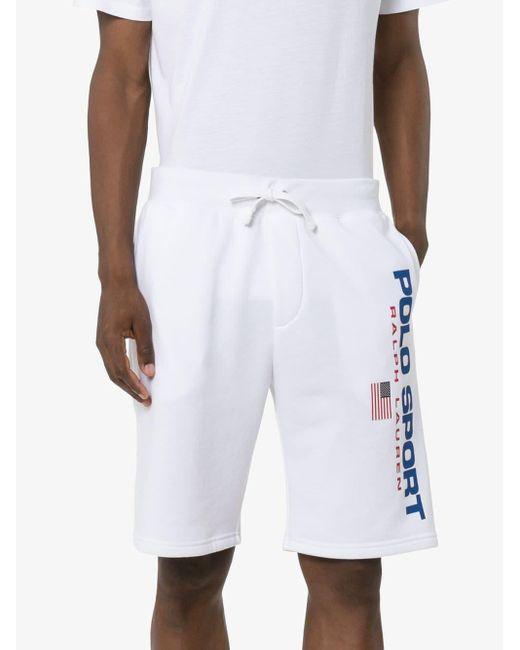 メンズ Polo Ralph Lauren ロゴプリントハーフパンツ White