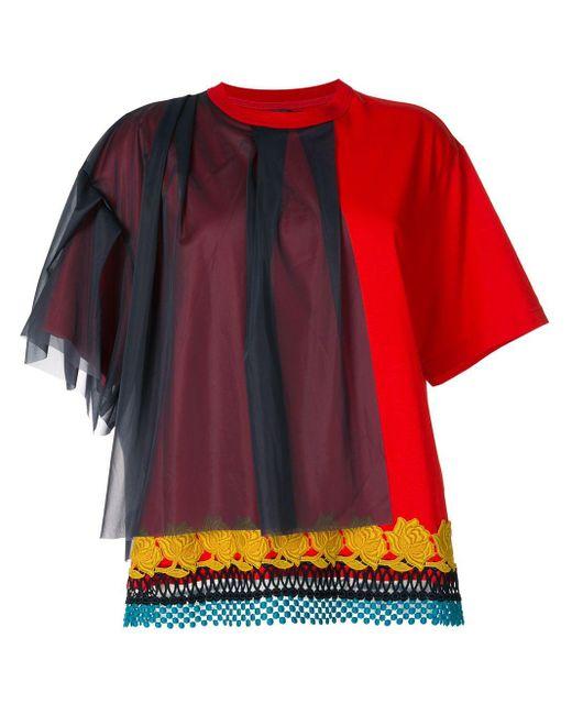 Kolor チュールパネル Tシャツ Red