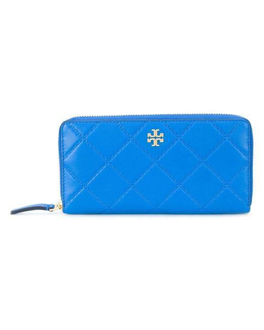 Tory Burch | Blue Zip Around Wallet | Lyst