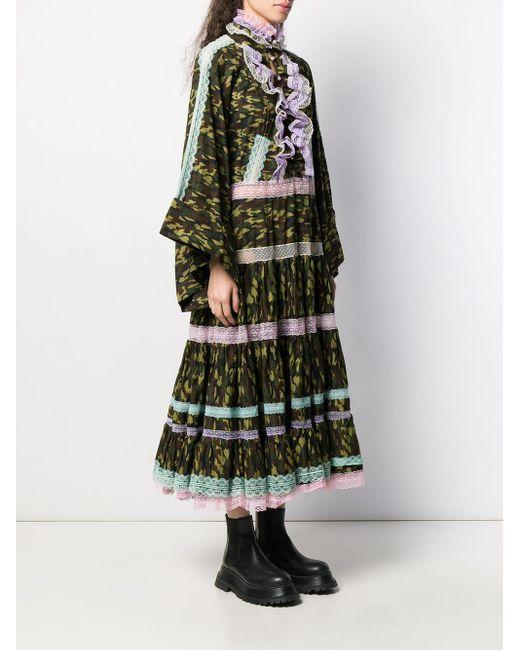 Robe volantée à imprimé camouflage Natasha Zinko en coloris Green