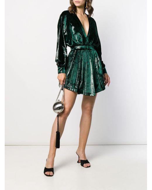 Mini-robe En Velours Métallisé Froncé Balmain en coloris Green