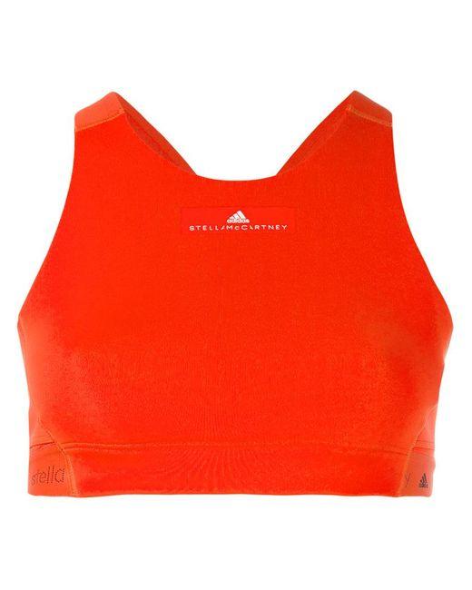 Adidas By Stella McCartney   Red Logo Detail Crop Top   Lyst