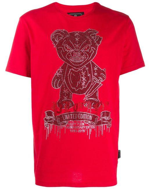 メンズ Philipp Plein テディベア Tシャツ Red