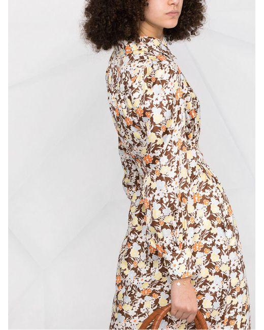 Vestido con estampado floral Tory Burch de color Brown