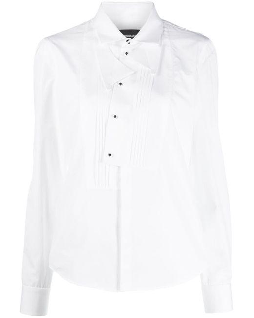DSquared² Camisa con pechera plisada de mujer de color blanco okmHL