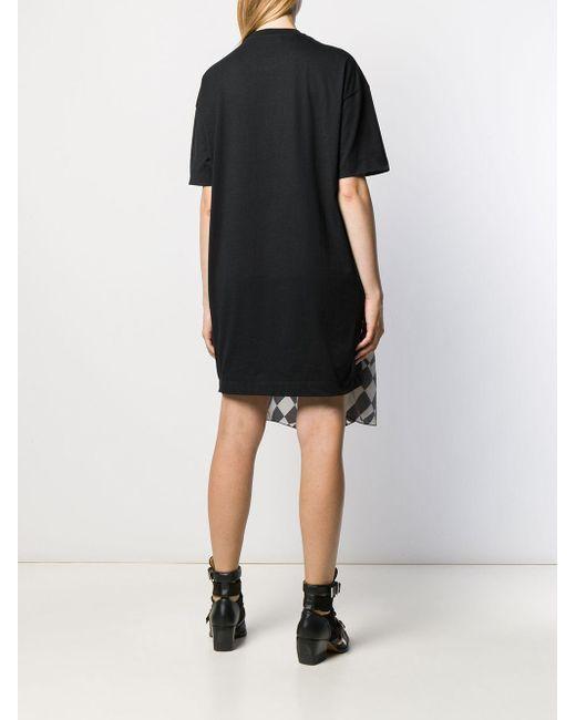 MSGM Black T-Shirtkleid mit Herzmuster