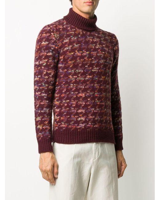 Altea Red Houndstooth Knit Jumper for men