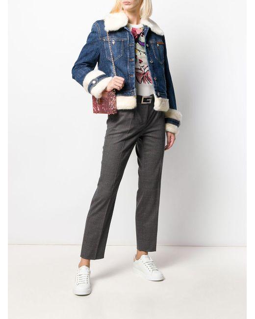 Dolce & Gabbana Blue Faux-fur Trimmed Denim Jacket