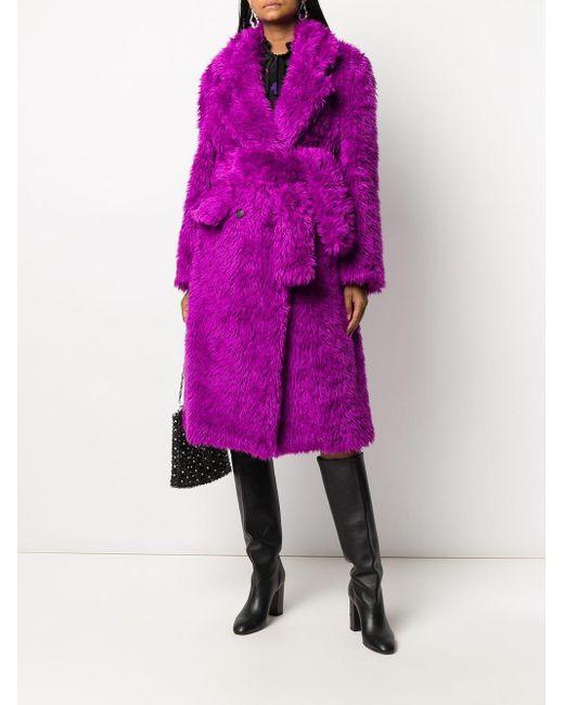 Шуба Из Искусственного Меха С Поясом MSGM, цвет: Purple