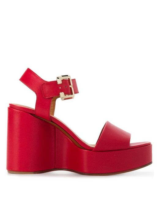 Clergerie - Red Wedge Sandals - Lyst