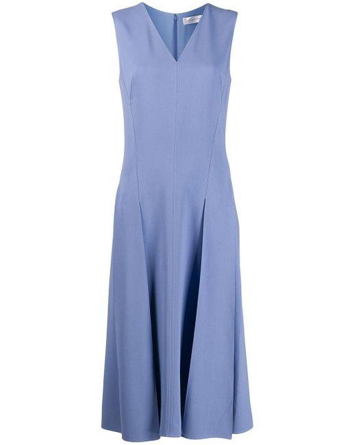 Victoria Beckham プリーツ ドレス Blue