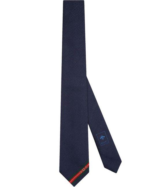 メンズ Gucci グッチ公式ダブルg &ホースビット ジャカード シルク ネクタイミッドナイトブルー ダブルg &ホースビット ジャカードcolor_descriptionシルク Blue