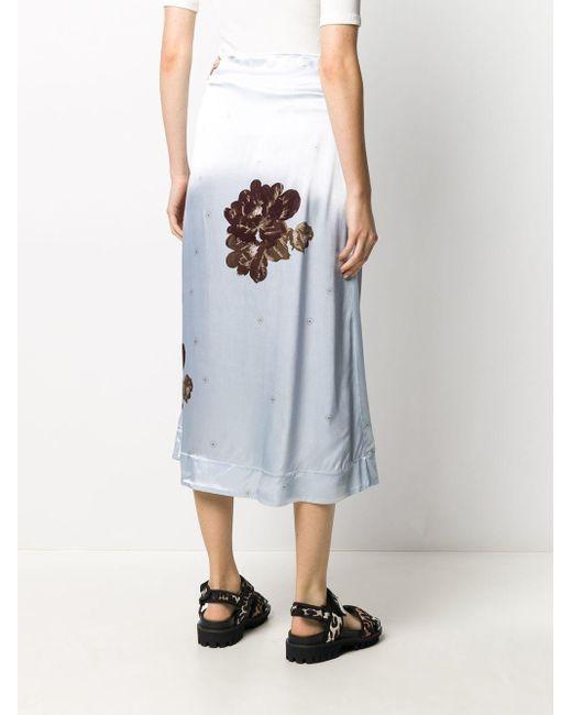Ganni フローラル シャーリング スカート Blue
