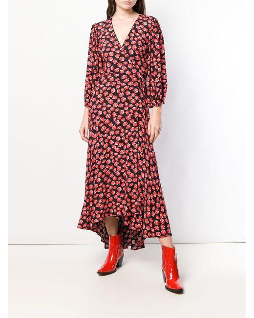 bc33fda8 Ganni Floral Print Wrap Dress in Black - Save 28% - Lyst