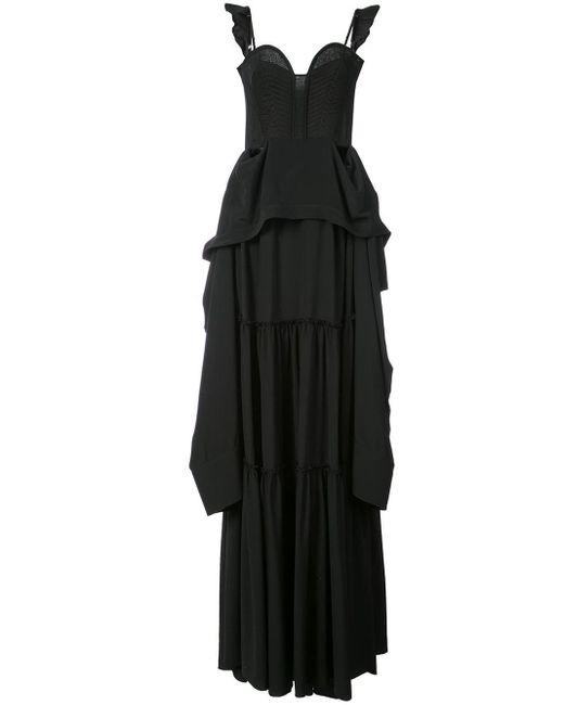 Vera Wang Flared Ruffle Maxi Dress Black