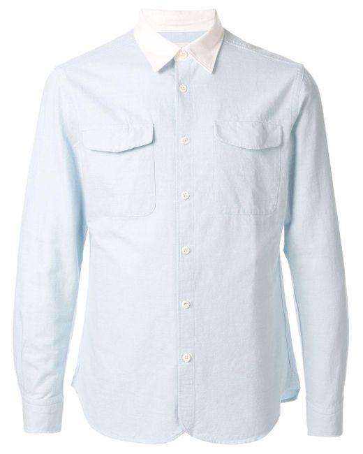 メンズ Kent & Curwen コントラストカラーオーバーシャツ Blue