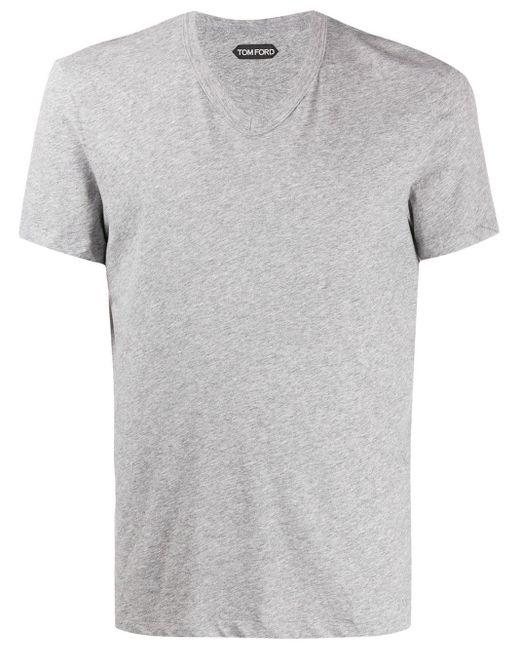 メンズ Tom Ford Vネック Tシャツ Gray
