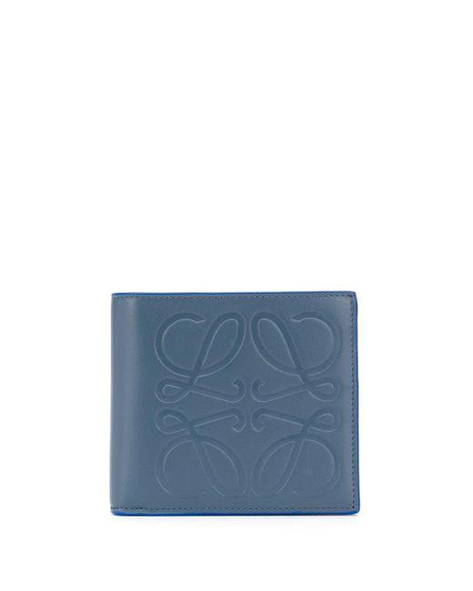 メンズ Loewe アナグラム 二つ折り財布 Blue