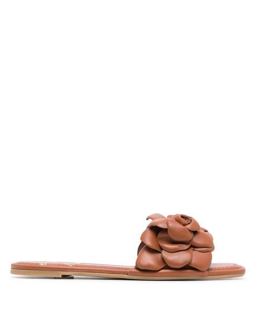 Valentino Garavani Brown Appliqué-detail Open-toe Sandals