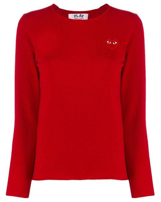 COMME DES GARÇONS PLAY ロゴ セーター Red