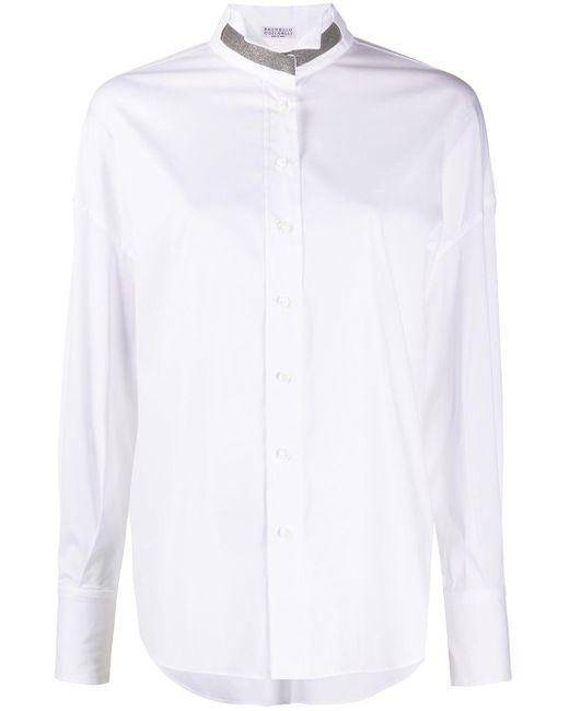Рубашка С Декором Monili Brunello Cucinelli, цвет: White