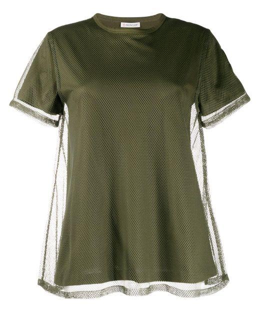 Moncler Camiseta con capa de malla de mujer de color verde 1TMNO