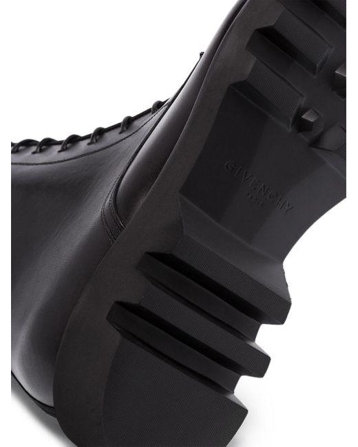 メンズ Givenchy レザー コンバットブーツ Black