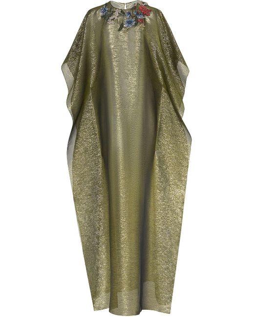 Oscar de la Renta フローラル イブニングドレス Green