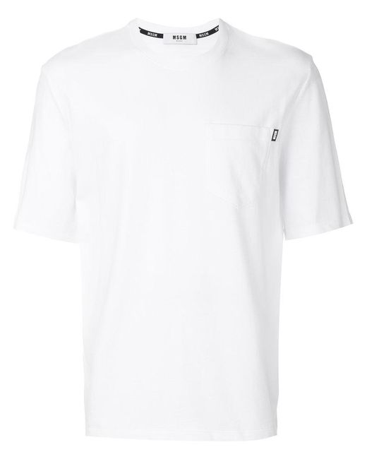MSGM - White Short-sleeve Logo T-shirt for Men - Lyst