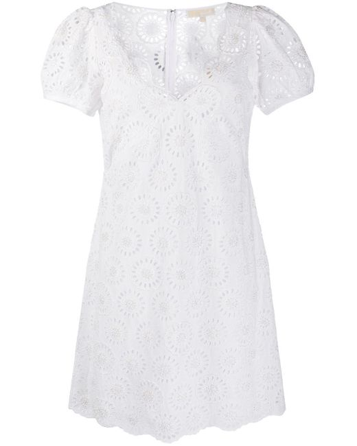 MICHAEL Michael Kors White V-neck Mini Dress