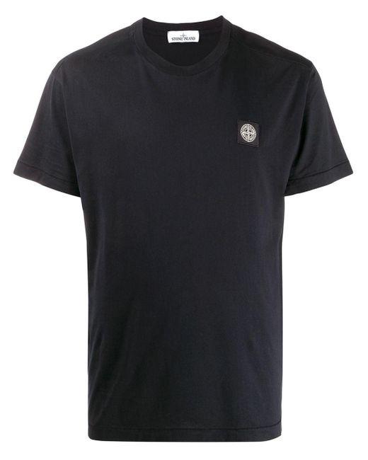 メンズ Stone Island ロゴパッチ Tシャツ Blue