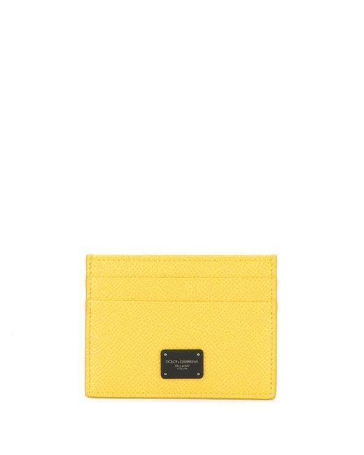 Dolce & Gabbana Yellow Logo Plaque Cardholder for men