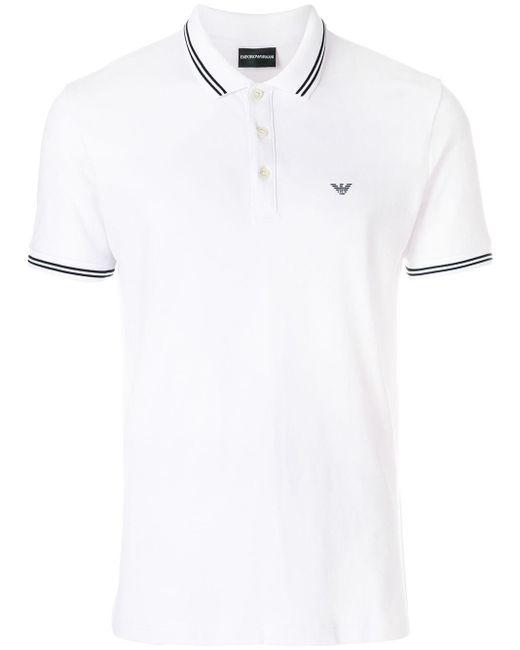 メンズ Emporio Armani コントラスト ポロシャツ White