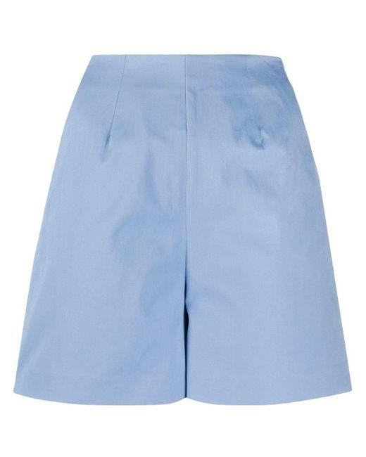 L'Autre Chose ハイウエスト テーラード ショートパンツ Blue