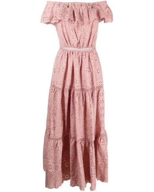 P.A.R.O.S.H. アイレットレース オフショルダードレス Pink