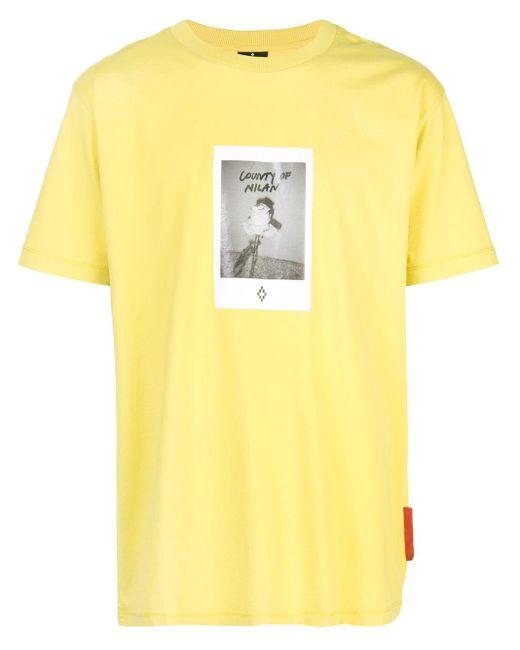 メンズ Marcelo Burlon ローズプリント Tシャツ Yellow