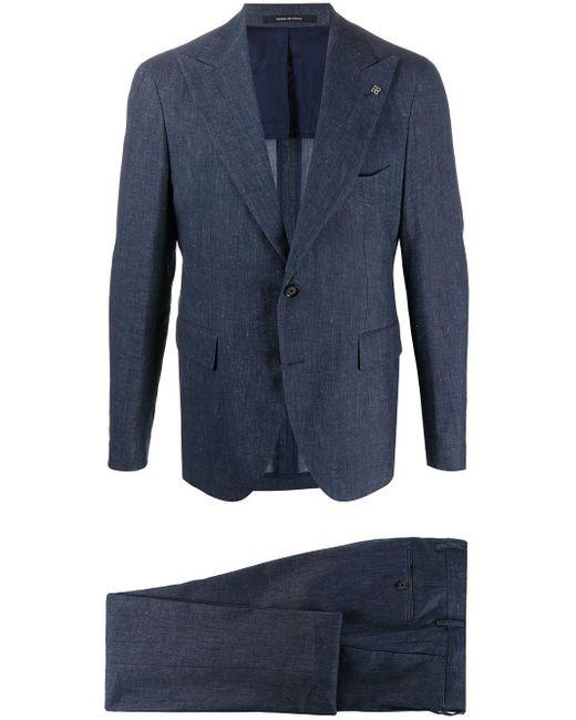 メンズ Tagliatore テクスチャード スーツ Blue